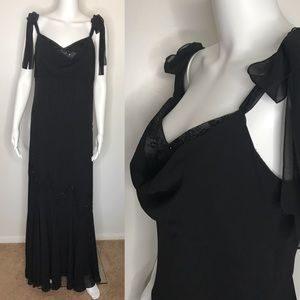 Xscape Black Beaded Evening Dress Size 10 Medium